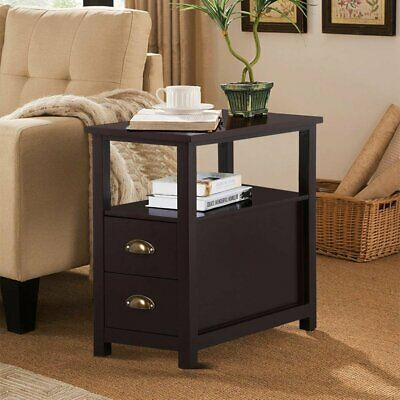 Side End Table with 2 storage Drawers Nightstand Sofa Table  Living Room Bedroom