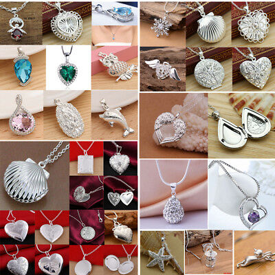 Fashion 925 Sterling Silver Pendant Necklace Chain Wedding Jewelry Lovers Gifts