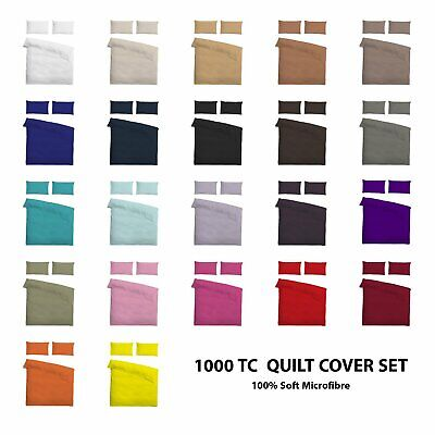 1000TC Ultra Soft Quilt/Duvet/Doona Cover Set Single/Double/Queen/King Size Bed
