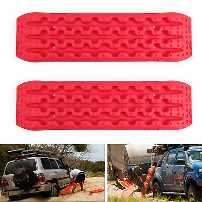 2X Recovery Traction Sand Tracks Snow Mud Track Tire Ladder 4WD Off Road Red