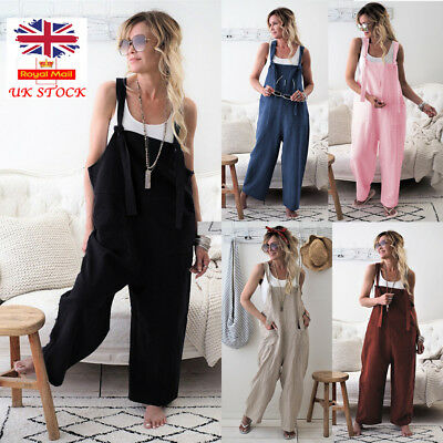 Womens Oversized Dungaree Overall Jumpsuit Playsuit Baggy Romper Trousers 12-18