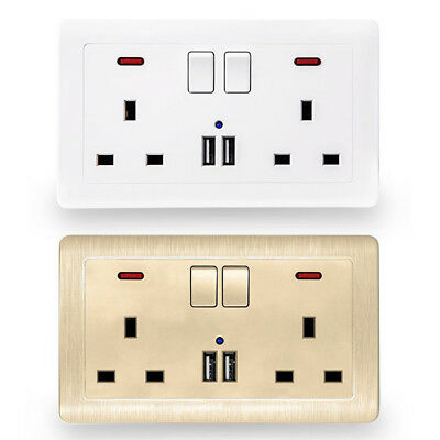 Double Wall Plug Socket 2 Gang 13A with 2 USB Ports Screwless Slim Flat Plate N