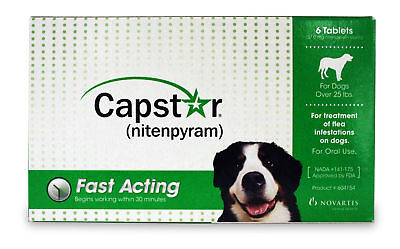 Capstar for Dogs 6 Pill Card / Dogs, Over 25 lbs (Green)