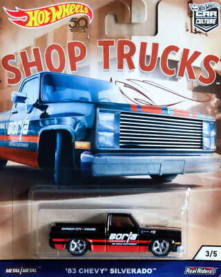 '83 Chevy Silverado Pickup Shop Trucks Car Culture 1:64 Hot Wheels FLC22 FPY86