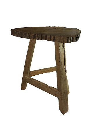 Teak Wood rustic stool, side or end Table, Plant or lamp stand or bench