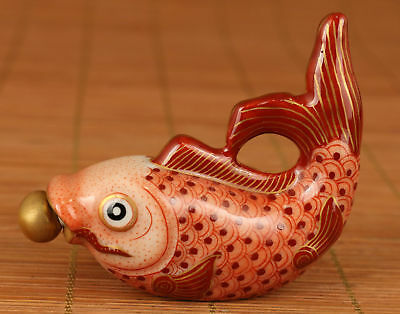 Rare Chinese Old Porcelain Handmade Carved Red Fish Statue Snuff Bottle Noble
