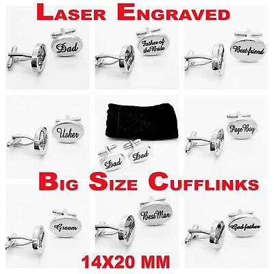 Engraved silver custom Cufflinks Gift wedding cuff links personalised Best man