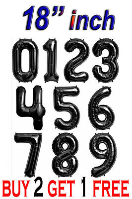 Black Alphabet Letter &Number Foil Balloons Personalised Birthday Party Name