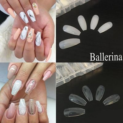 Long Beauty DIY Nail Art Tips False Cover False Ballerina Nails Coffin Shape
