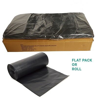 Heavy Duty Black Refuse Sacks Strong Bin Liners Rubbish Bags Box or Roll