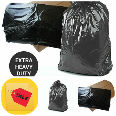 200 X Black EXTRA HEAVY DUTY 180G Refuse Sacks Strong Bin Liners Rubbish Bags
