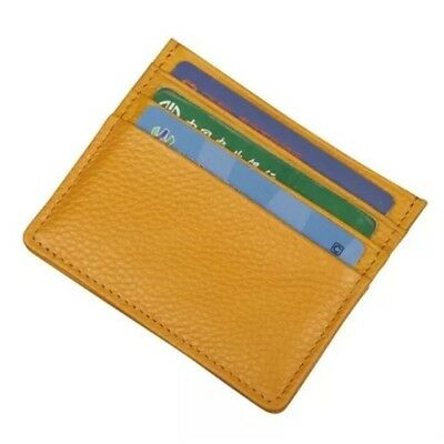 New PU Leather Slim Thin Credit Card Holder Mini Wallet ID Case Yellow PT