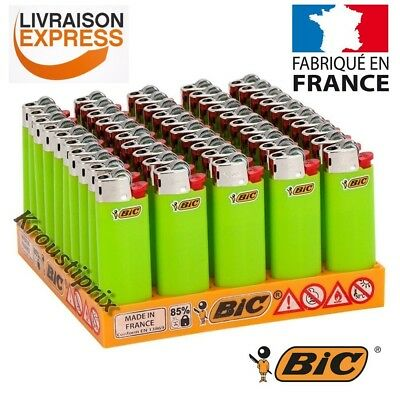 Briquets BIC Mini VERT FLUO - Au choix lot de 5 à 100 Briquet - Made in France