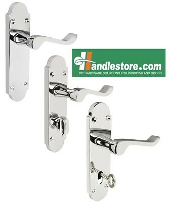 Shaped Scroll Polished Chrome Door Handle Sets Latch,Bathroom, Lever lock 168x42