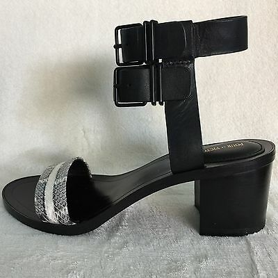 3ad0f48ea1e Pour La Victoire Dagny Block Heel Real Snake Leather Shoes Sandals Size 6M  New