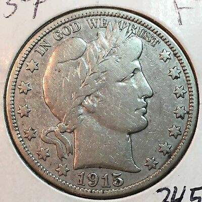 1915-P  Fine+   Barber Half Dollar  LITY and most of BER    Low Mintage Key Date