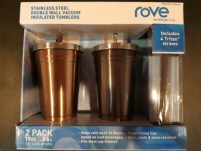 0d35d4d8826 ROVE STAINLESS STEEL Double Wall Insulated Vacuum Tumblers Grey & Copper 2  Pack