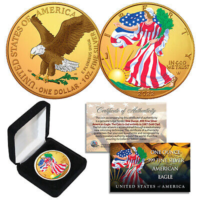 Dual 24K GOLD GILDED & COLORIZED 2-Sided 1 Troy Oz 2019 Silver Eagle Coin w/ Box