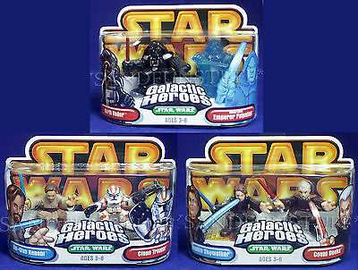 NEW Star Wars GALACTIC HEROES Lot DARTH VADER Dooku HOLOGRAPHIC PALPATINE Clone