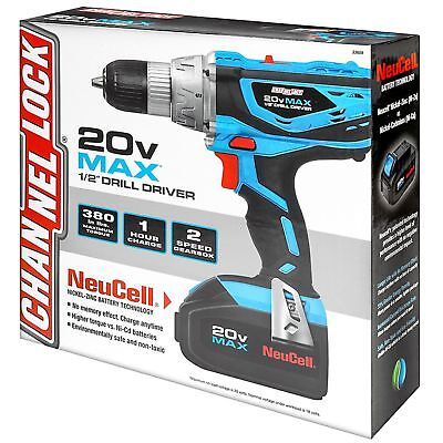 """Channel Lock 20V Max 1/2"""" Cordless Drill Driver, Battery Drill w/charger"""