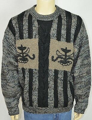 Vtg Le Tigre Black & Tan Cable Knit Crew Neck Sweater Men's Sz XL Logo Print