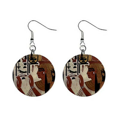 "Hot New Nefertari Ancient Egyptian Queen 1"" Button Earrings Free Shipping"
