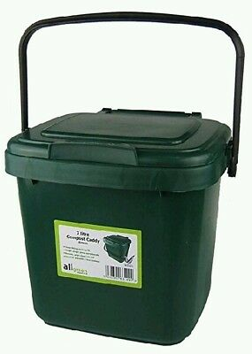 7L Kitchen Compost Bin Caddy ALL GREEN Food Waste Re-cycling DARK GREEN Handle
