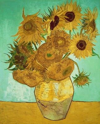 Sunflowers Vincent Van Gogh Painting Canvas Print Floral Wall Art Small 8x10