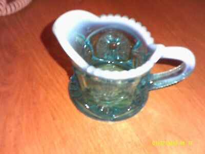 Vintage Small Blue White Maybe Cut Glass Pitcher Or Creamer