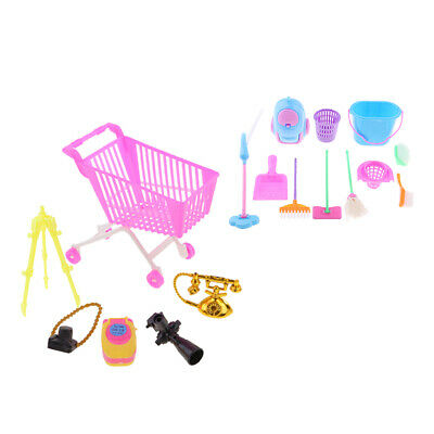 Mini Shopping Cart Trolley Set & Cleaning Furniture Toys For