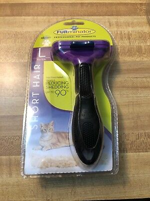 Authentic Furminator Large Cat Short Hair Deshedding Tool Purple Over 10 Lbs