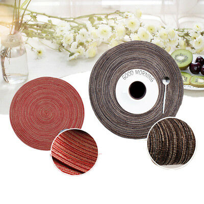 6Pcs Polyester Yarn Weaving Heat Insulated Cup Mat Placemat Dining Table Decor A