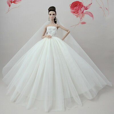 Handmade White Fashion Party Dress/Wedding Clothes/Gown+Veil For Barbie Doll