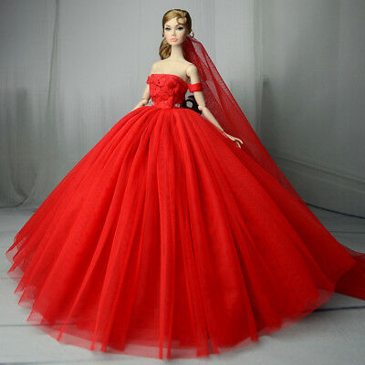 Handmade Red Fashion Party Dress/Wedding Clothes/Gown+Veil For Barbie Doll
