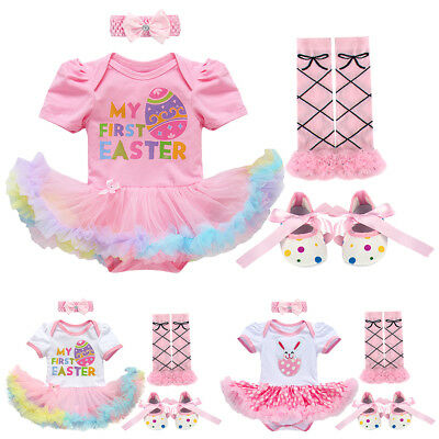4PCS Newborn Baby Girl Easter Costume Egg Bunny Romper Tutu Dress Party Outfits