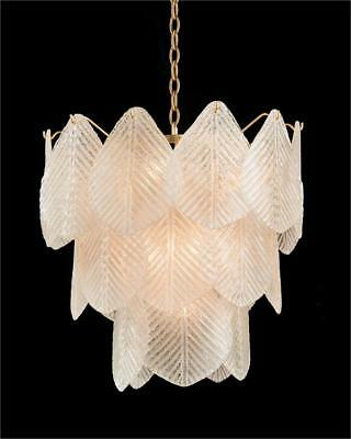 """22"""" W Chandelier Three Tier Frosted Glass Etched Petals Antique Gold Leaf Frame"""