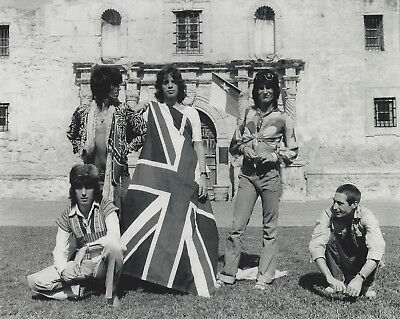 1970's The Rolling Stones 8x10 B/W  photo  at the Alamo in Texas