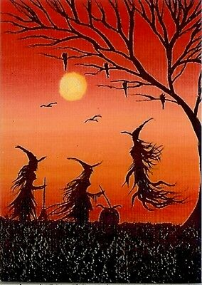 ACEO GLOSSY PRINT Halloween Haunted House Witches Whimsical Fun Art Print HYMES