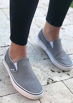 ea5a2ea3c4e Vans Classic Slip-On Embossed Suede Skate Shoes Women s Size 8  60 Frost  Gray