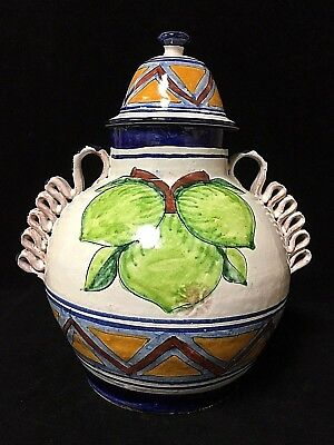 Vintage Talavera Painted Fruit + Handle Lidded Ornate Jar Canister Vase Pottery