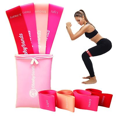 Resistance Booty Bands Set 4 Loop Bands Gym Workout Fitness Exercise Guide & Bag