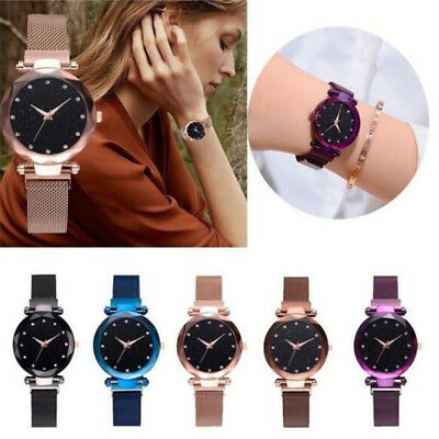 Starry Sky Women Watch Magnet Strap Free Buckle Stainless Steel Girl Lover Gift