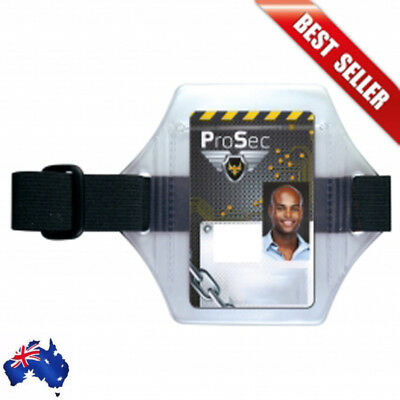Vertical Armband Security ID Card Photo Badge Holder Clear + Black Elastic Strap