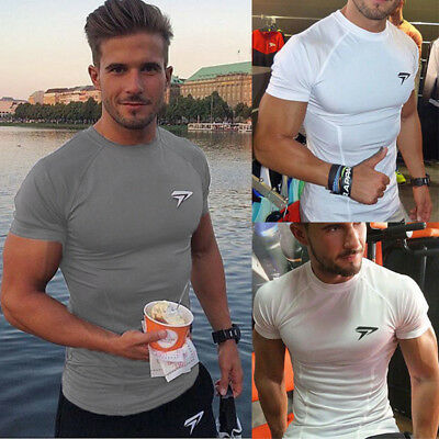 UK Quick Dry Men's Mens Gym Sports Running T Shirt Fitness Workout Tops Shirts