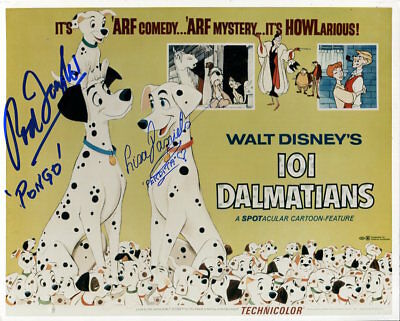 101 Dalmations Photo Signed By Rod Taylor & Lisa Daniels  - F342