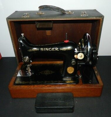 Singer 99K Hand Crank Sewing Machine 1936 in Case with Attachments