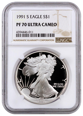 1991-S NGC PF70 Proof American Silver Eagle One Dollar Coin