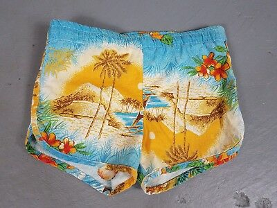 Vintage boys swim trunks M Hawaiian tropical 60s/70s swimsuit heavy fabric