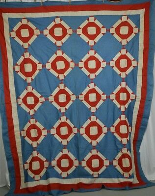 quilt top patchwork red white blue  hand made 67 x 89 in. antique 1920