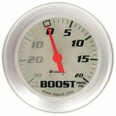 Equus 2â€ Mechanical Vacuum / Boost Gauge White with  Aluminum Bezel Equus 8257